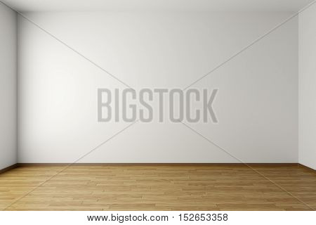 Empty room with white walls brown hardwood parquet floor and soft skylight from window simple minimalist interior architecture background with copy-space 3d illustration