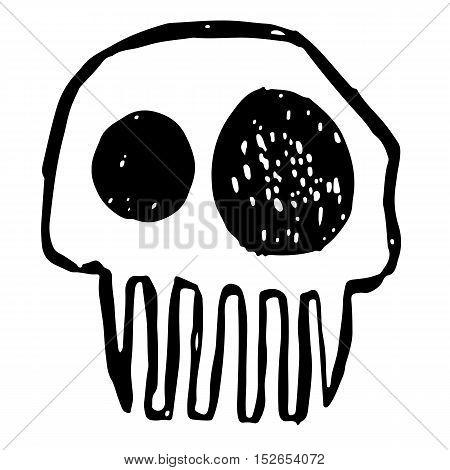 Hand drawn sketch skull. Cartoon skull illustration.Burning skull on black background