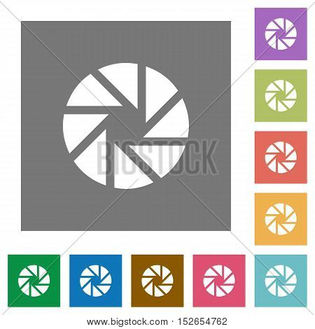 Flat aperture icons on simple color square background.