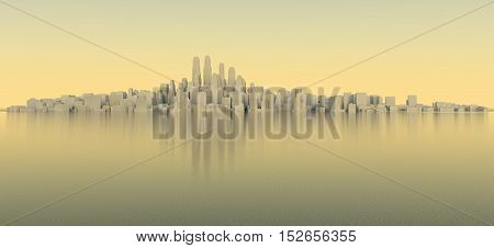 White city with sky and sea. Evening time. 3D rendering