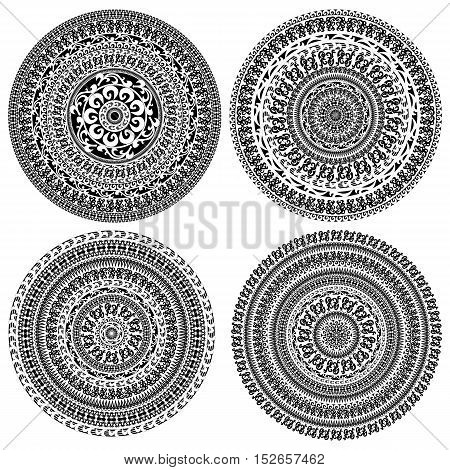 Set of ornament monochromatic card with mandala. Round ornamental vector shape isolated on white. Vector illustration in black and white colors.