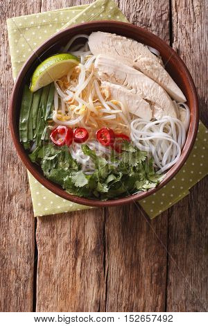 Vietnamese Soup Pho Ga With Chicken And Rice Noodles, Bean Sprouts Close-up. Vertical Top View
