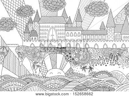 Zendoodle castle landscape for background, adult coloring and design element. Stock vector.