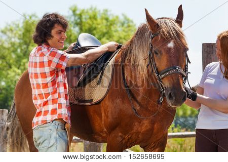 Young woman holding bay horse by the bridle while young man saddling it, standing next to the enclosure fence