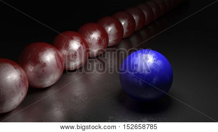 One blue ball with stone texture standing apart from a row of red spheres on a black rock surface 3D illustration