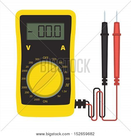 Digital multimeter vector icon. Electrical multitester sign or tester illustration. Voltage current and resistance meter for electronic equipment and domestic appliances