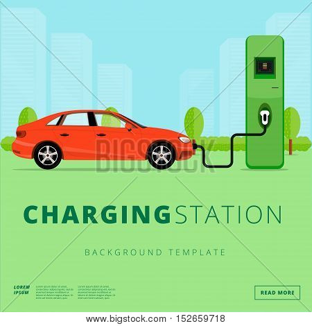 Electric car charging station concept. EV recharging point or EVSE. Plug-in vehicle getting energy from battery supply.