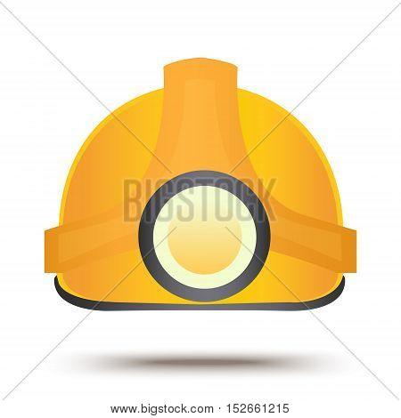 Construction safety helmet. Flat icon design. Industrial equipment symbol. Protection helm sign. Miner headgear vector illustration