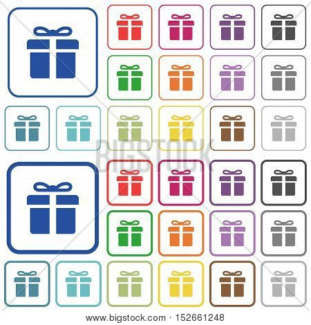 Set of gift box flat rounded square framed color icons on white background. Thin and thick versions included.