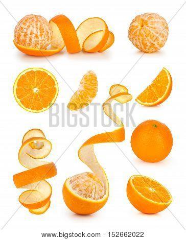 Collection of orange slice and orange peeled skin isolated white background