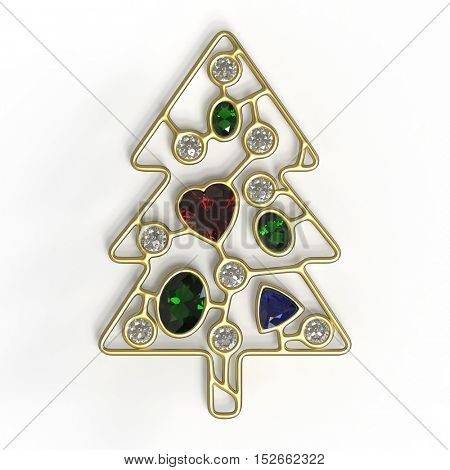 3d illustration of golden Christmas tree with diamonds, oval emeralds and heart shape ruby, treasure Xmas, 3d Christmas concept isolated on white background