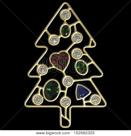 3d illustration of golden Christmas tree with diamonds, oval emeralds and heart shape ruby, treasure Xmas, 3d Christmas concept on black background
