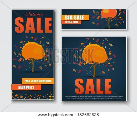 Set of square vertical and horizontal banners for sale. Template Autumn trees from which the leaves fall off and discount percentages. Vector illustration