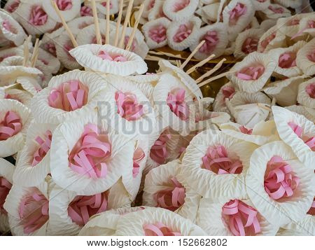 The group of Thai Funeral Flower (artificial flower use for cremation).