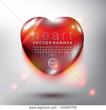 Abstract vector banner. Pebble stone in shape of heart. Red and glossy with realistic light and shadow on the white panel. Vector illustration. Eps10.