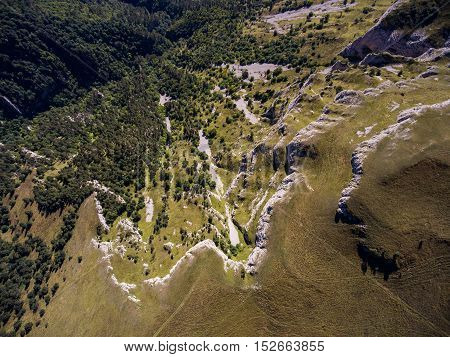 Top View Of The Precipice And The Cliff In A Mountain Valley