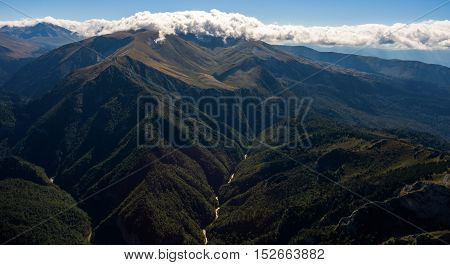 Aerial landscape of grand mountain valley with a river. Russia.