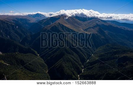 Aerial View Of The Beautiful Mountain Valley With River.