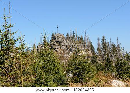 Nature reserve Dreisesselberg - summit cross of a tourist destination