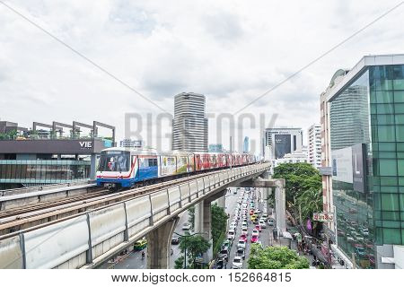 BANGKOK THAILAND - SEPTEMBER 4 2016: City view of Ratchathewi district with BTS skytrain track in Bangkok Thailand.