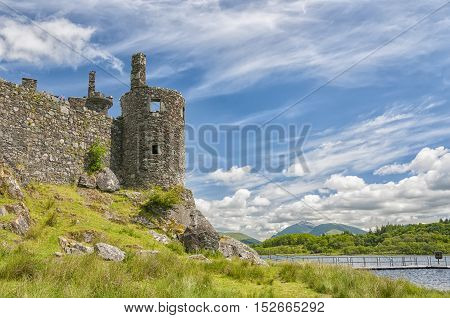 Kilchurn Castle a ruined 15th century structure on the banks of Loch Awe in Argyll and Bute.
