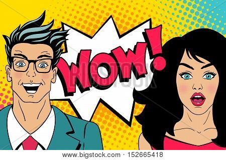 Wow Faces. Handsome Happy Young Surprised Man In Glasses And Sexy Surprised Woman With Open Mouths A
