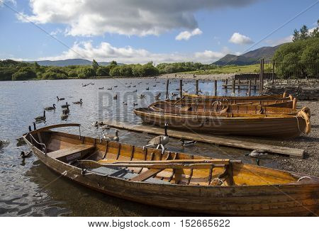 Boats at Derwent Water, The Lake District, Cumbria, England