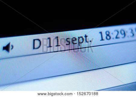 FRANKFURT GERMANY - SEP 11 2009: September Eleven date as seen on the screen of an Apple iMac computer. The September 11 attacks were a series of four coordinated terrorist attacks by the Islamic terrorist group al-Qaeda on the United States on the mornin