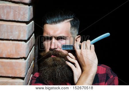 Hipster Cutting With Razor