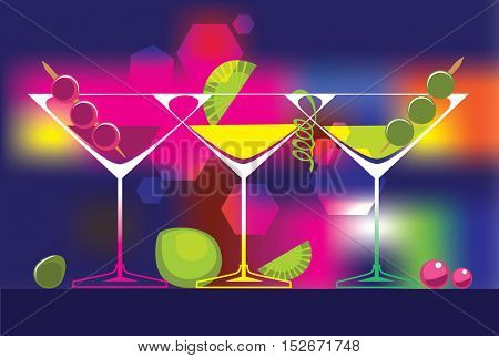 cocktails glasses of alcoholic beverages on colored background. Vector set of drinks illustrations