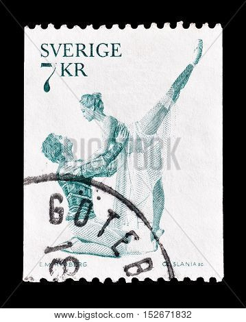 SWEDEN - CIRCA 1975 : Cancelled postage stamp printed by Sweden, that shows Ballet dancers.