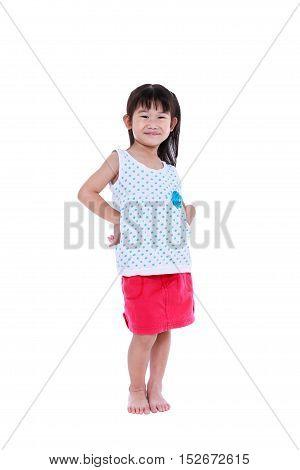 Happy Asian Child Posing At Studio, Isolated On White Background.