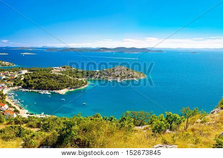Adriatic archipelago aerial summer view bay of Drage Pakostanske Dalmatia Croatia poster