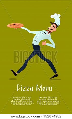 Cook with pizza. pizza menu. Italian pizza. Chef. Pizza delivery. Vector illustration in style flat