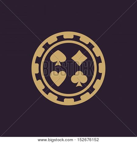 The casino chip icon. Casino Chip symbol. Flat Vector illustration