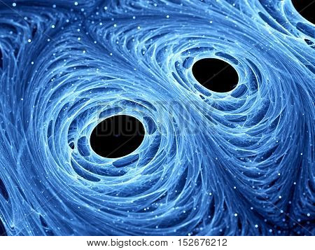 Wormholes in space with blue glowing material computer generated abstract background 3D render