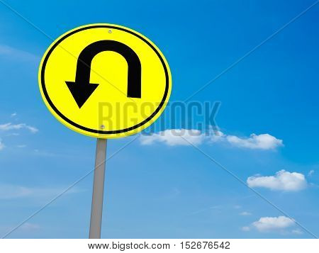 Round Yellow Road Sign U-Turn Against A Cloudy Sky 3d illustration