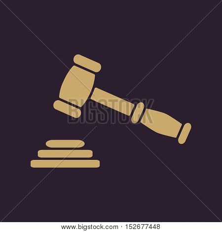 The judge or auction hammer icon. Justice symbol. Flat Vector illustration