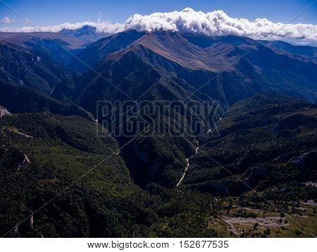 Aerial View Of Valley Tsitsa River. Russia, Caucasus.