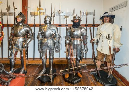 Braubach Germany - May 23 2016: Old armour in the Marksburg castle in Rhineland-Palatinate Braubach Germany. It is one of the principal sites of the UNESCO World Heritage Rhine Gorge.