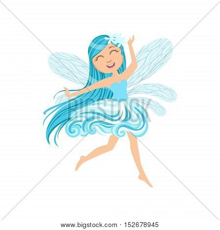 Cute Fairy Of Wind Element Girly Cartoon Character.Childish Design Fairy-tale Creature Simple Adorable Illustration.