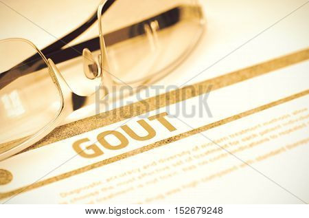 Gout - Printed Diagnosis with Blurred Text on Red Background with Specs. Medicine Concept. Gout - Medicine Concept with Blurred Text and Spectacles on Red Background. Selective Focus. 3D Rendering.