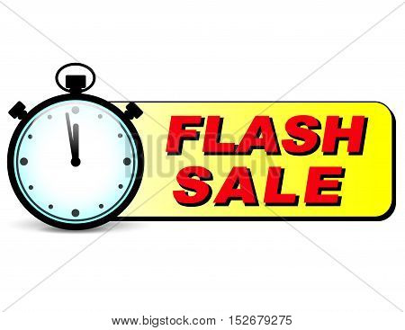 Illustration of flash sale text with stopwatch