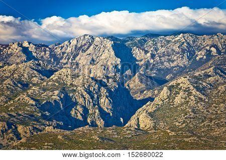 Paklenica national park on Velebit mountain view stone peaks of Croatia