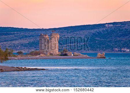 Starigrad Paklenica tower ruins by the sea Dalmatia Croatia