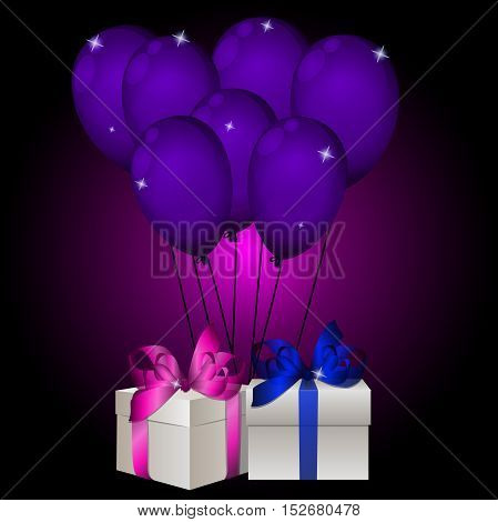 High quality original trendy vector illustration of realisic gift box with balloons