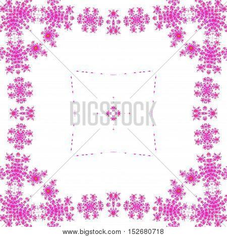 Bright pink ornate symetrical square frame framed background