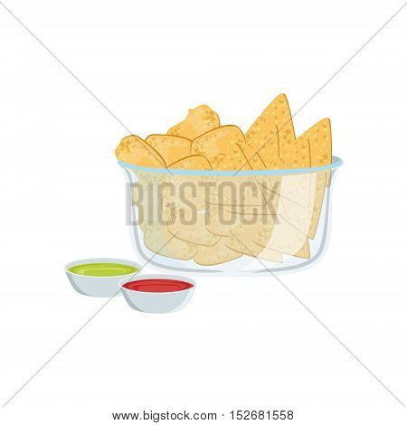 Nachos Street Food Menu Item Realistic Detailed Illustration. Take Away Lunch Icon Isolated On White Background.