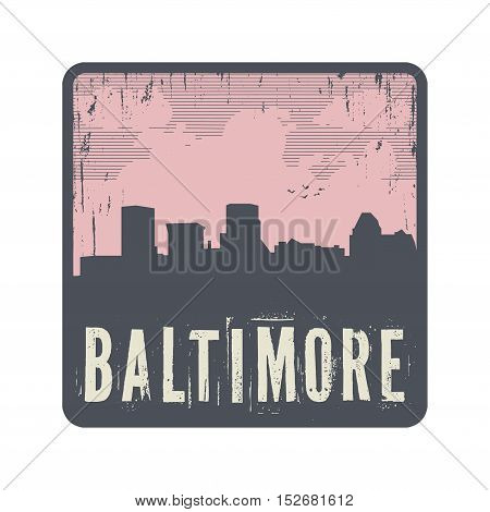 Grunge vintage stamp with text Baltimore vector illustration