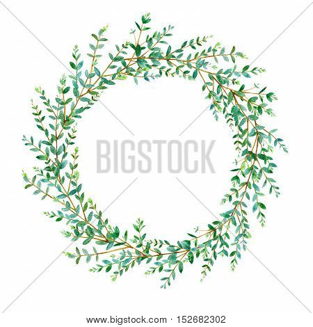 Floral wreath.Garland with eucalyptus branches.Watercolor hand drawn illustration.It can be used for greeting cards, posters, wedding cards.